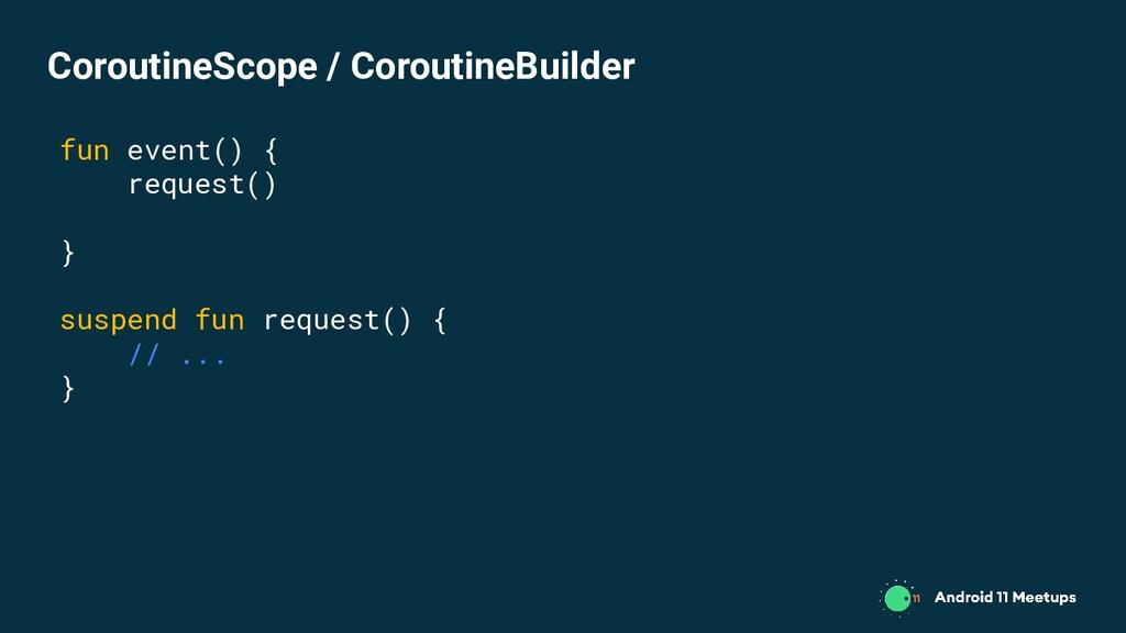 fun event() { request() } suspend fun request()...