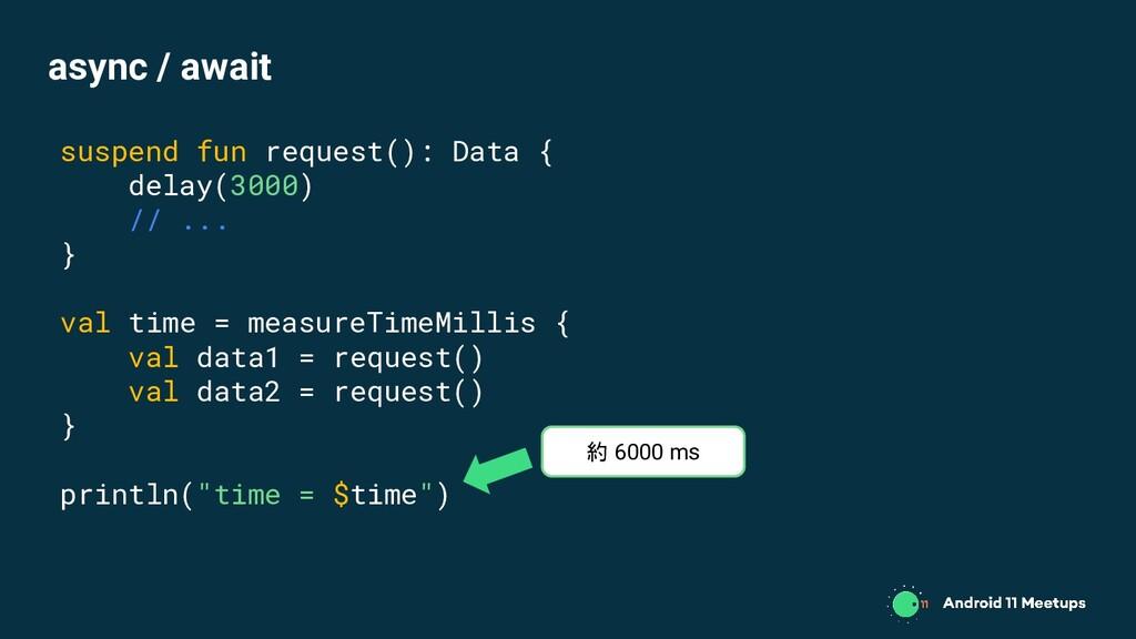 suspend fun request(): Data { delay(3000) // .....