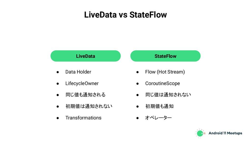 LiveData vs StateFlow ● Data Holder ● Lifecycle...