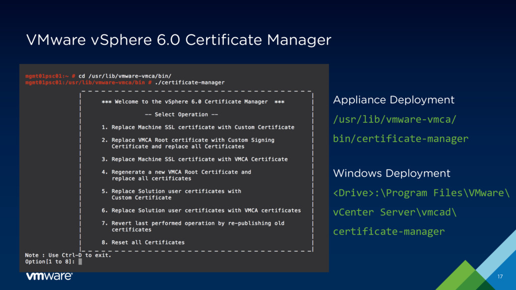 VMware vSphere 6.0 Certificate Manager 17 Appli...
