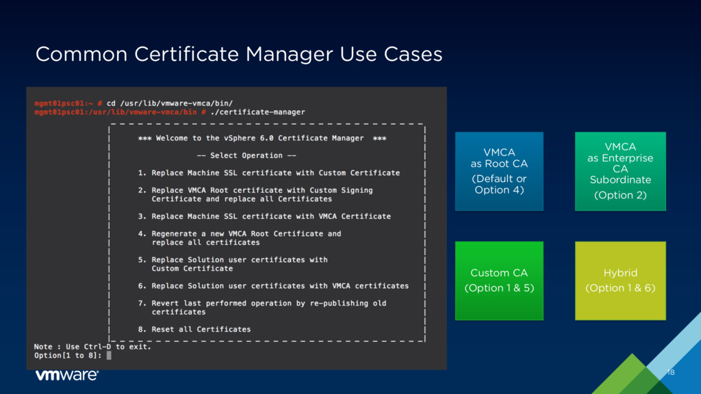 Common Certificate Manager Use Cases 18 VMCA as...