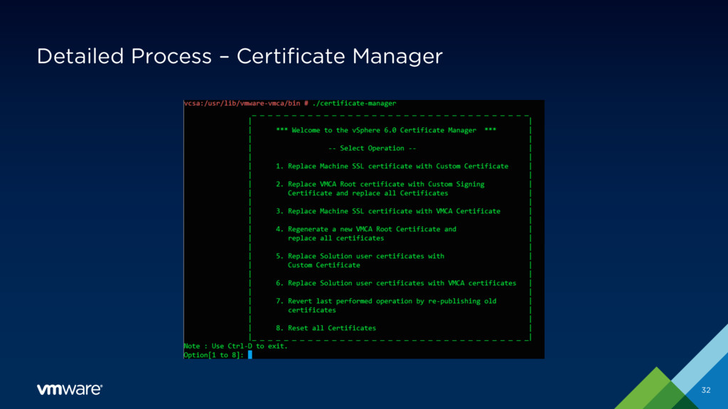 Detailed Process – Certificate Manager 32