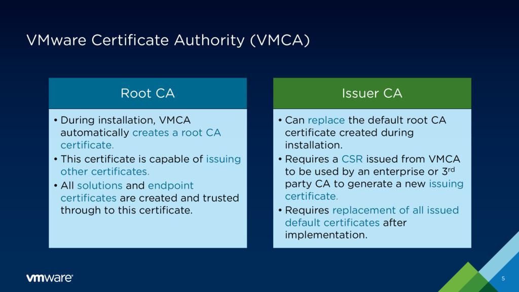 VMware Certificate Authority (VMCA) 5 Root CA •...