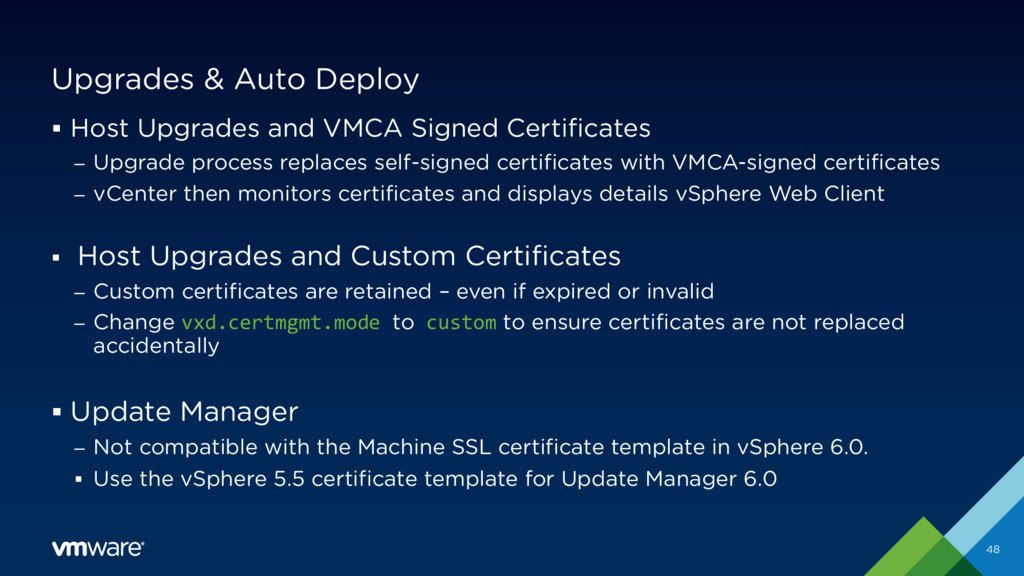 Upgrades & Auto Deploy § Host Upgrades and VMCA...