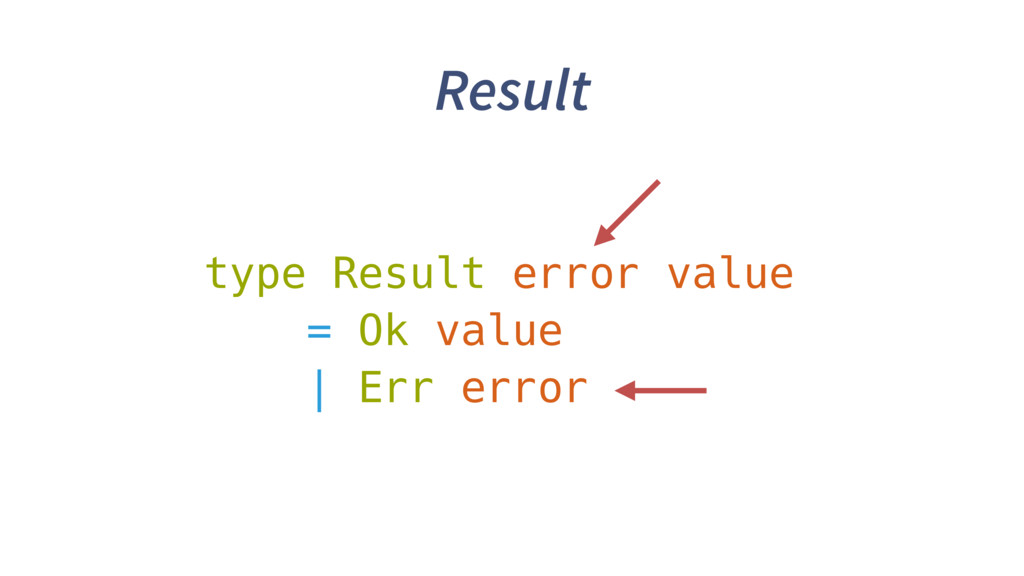 Result type Result error value = Ok value | Err...