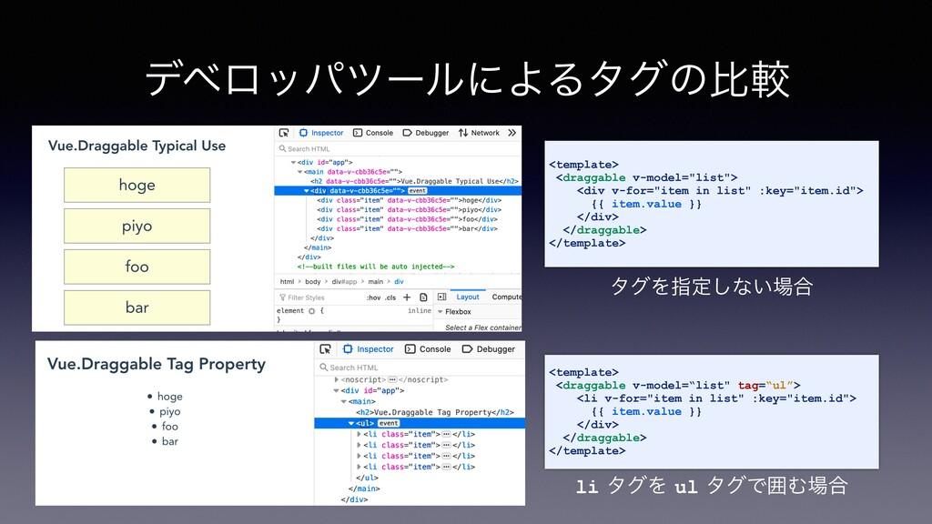 σϕϩούπʔϧʹΑΔλάͷൺֱ <template> <draggable v-model=...