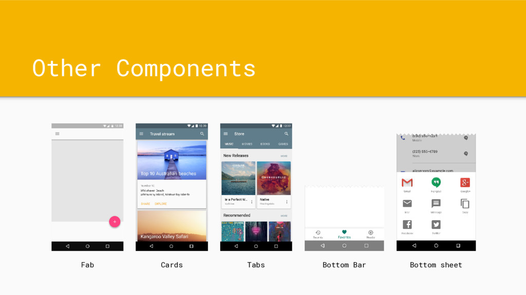 Other Components Fab Cards Tabs Bottom Bar Bott...