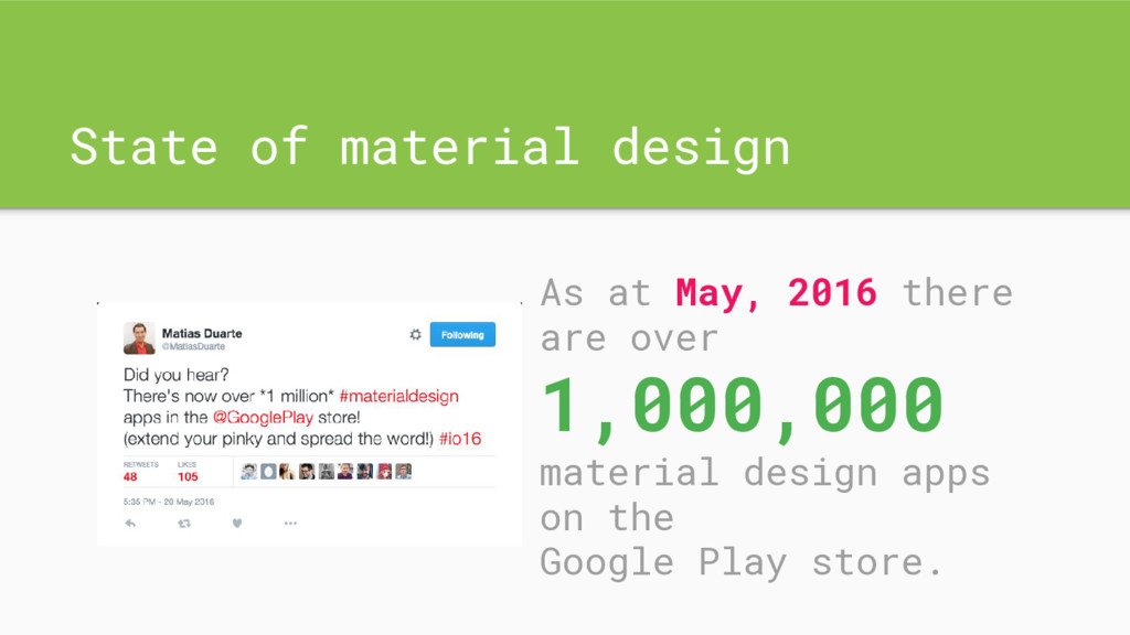 State of material design As at May, 2016 there ...