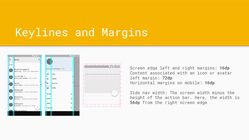 Keylines and Margins Screen edge left and right...