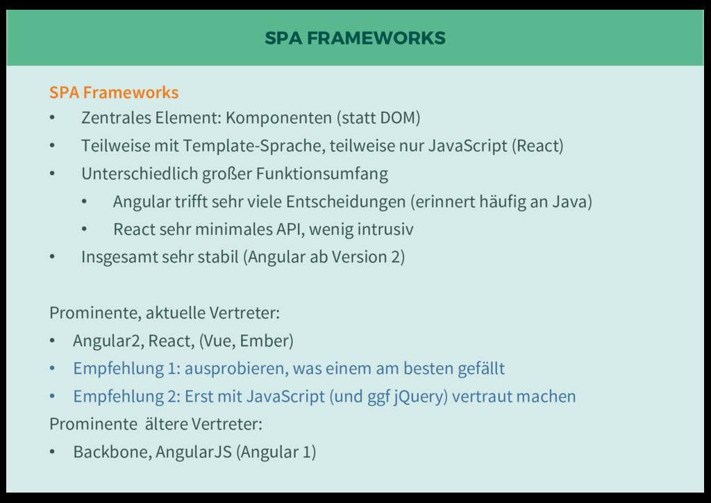 SPA FRAMEWORKS SPA Frameworks • Zentrales Eleme...
