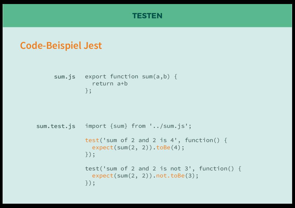 TESTEN export function sum(a,b) { return a+b };...