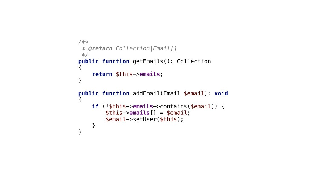 /** * @return Collection|Email[] */ public func...