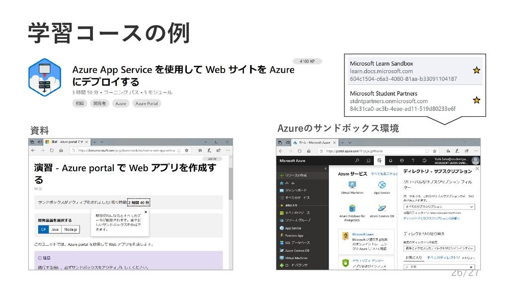 学習コースの例 資料 Azureのサンドボックス環境 26/27