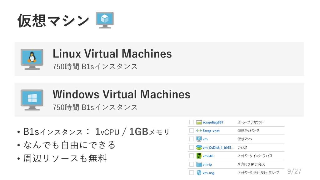 • B1sインスタンス: 1vCPU / 1GBメモリ • なんでも自由にできる • 周辺リソ...