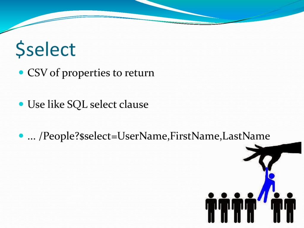 $select  CSV of properties to return  Use lik...