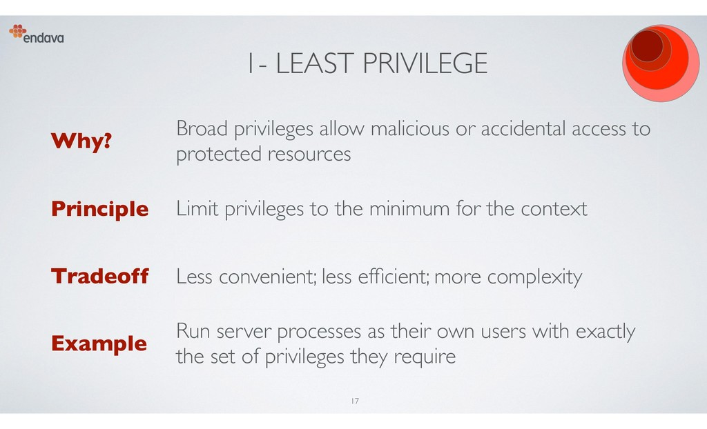 1- LEAST PRIVILEGE Why? Broad privileges allow ...