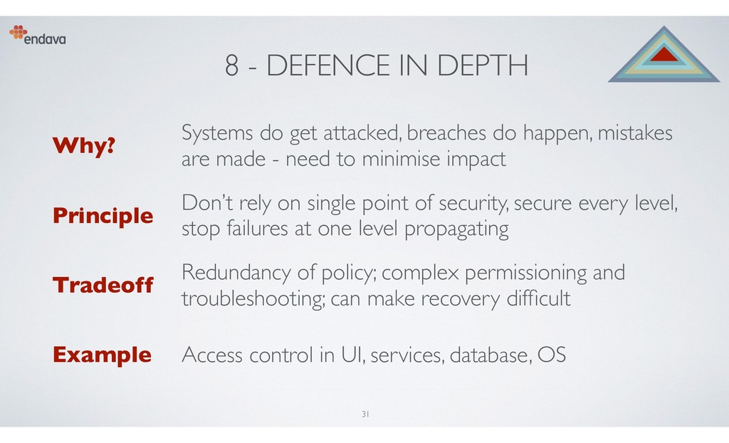 8 - DEFENCE IN DEPTH Why? Systems do get attack...