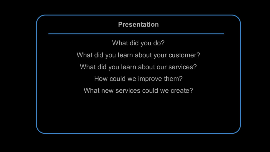 Presentation What did you do? What did you lear...