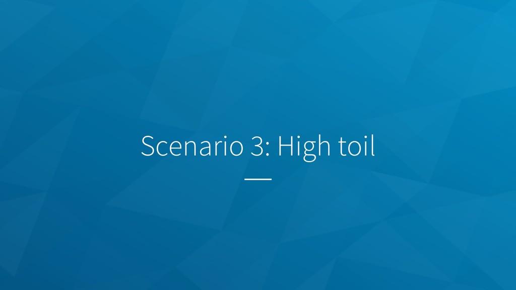 Scenario 3: High toil