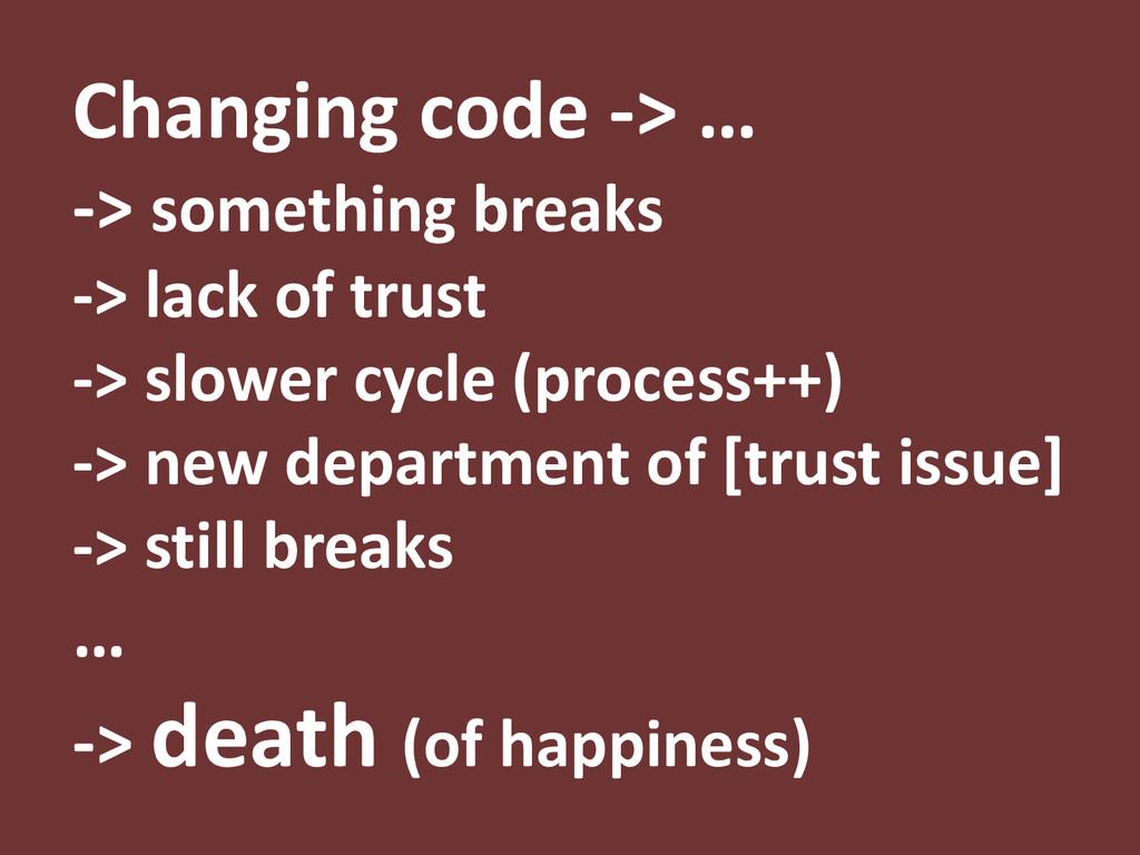 Changing code -> … -> something breaks -> lack ...
