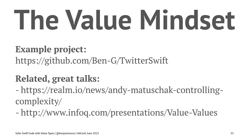 The Value Mindset Example project: https://gith...