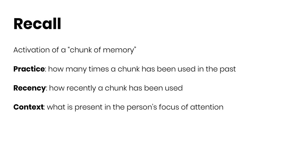 "Recall Activation of a ""chunk of memory"" Practi..."