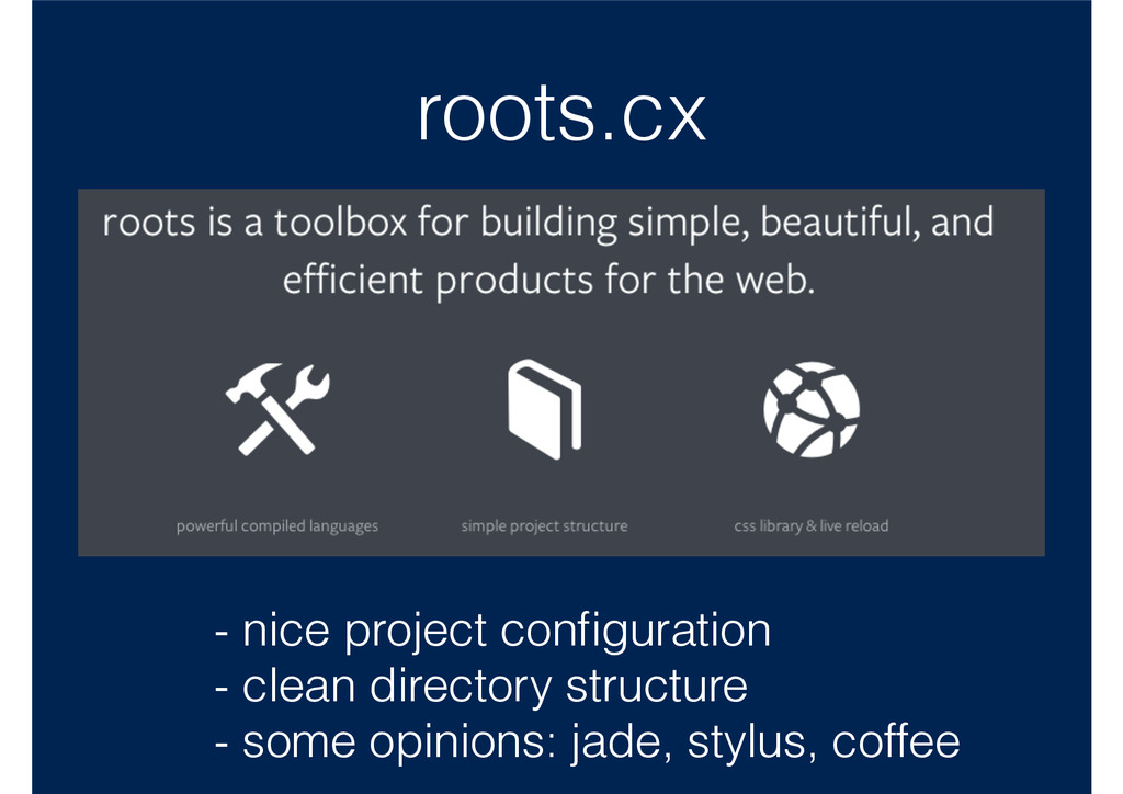 roots.cx - nice project configuration - clean di...