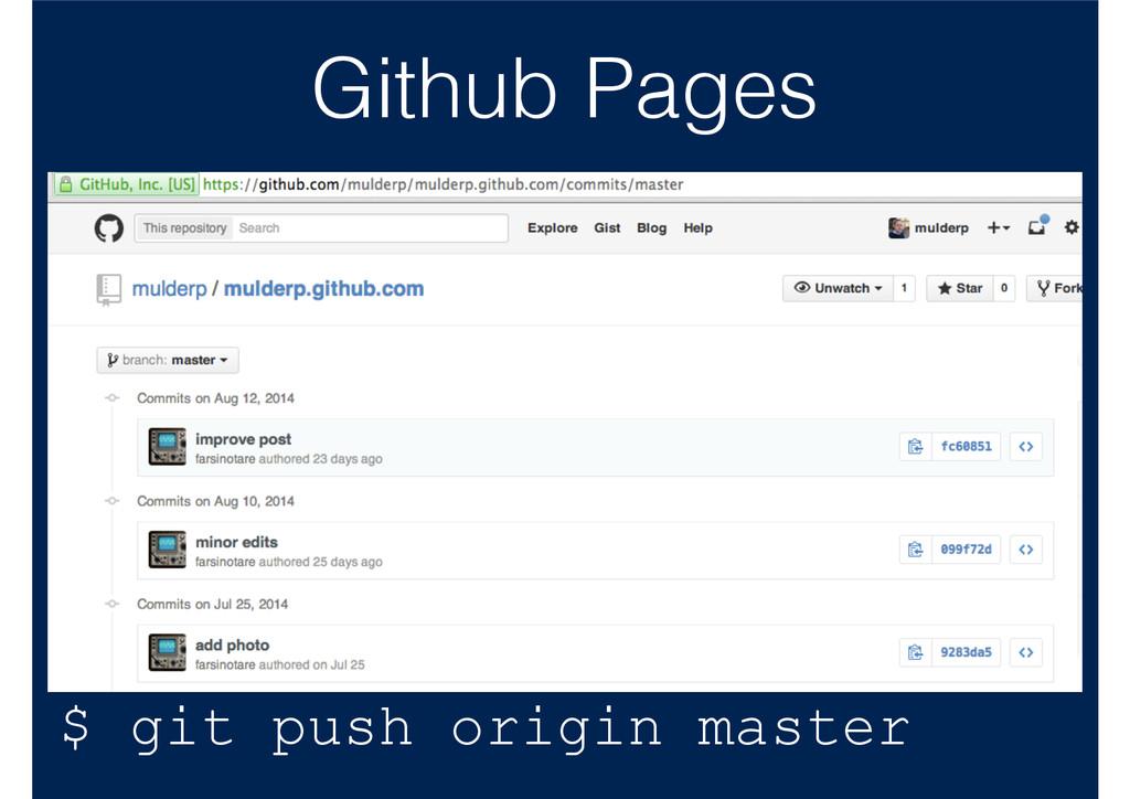 Github Pages $ git push origin master