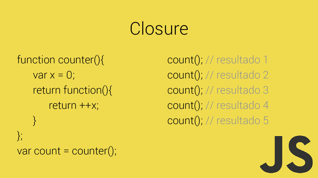 Closure function counter(){ var x = 0; return f...