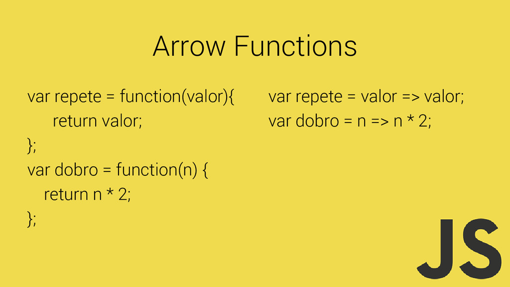 Arrow Functions var repete = function(valor){ r...