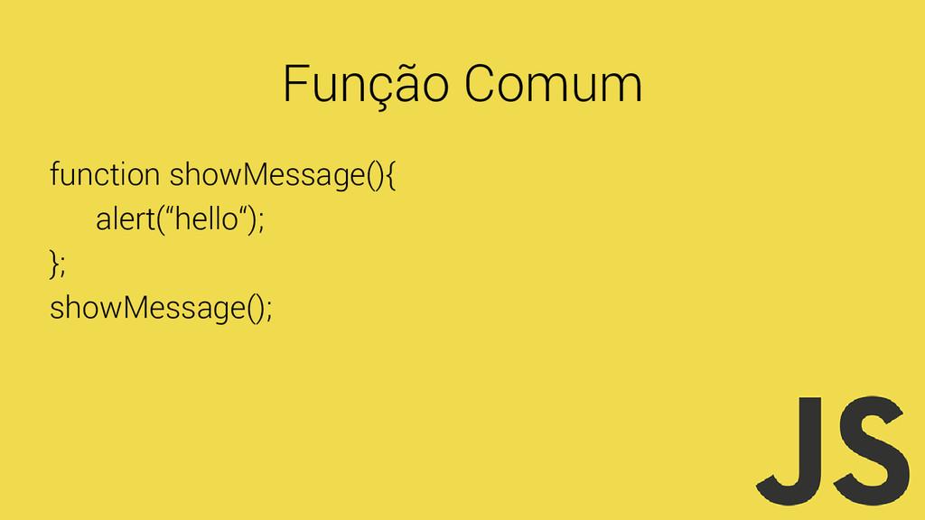 "Função Comum function showMessage(){ alert(""hel..."