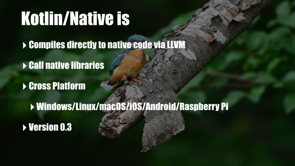 Kotlin/Native is ‣Compiles directly to native c...