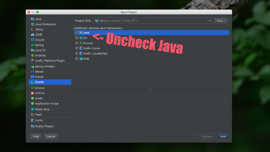 <- Uncheck Java