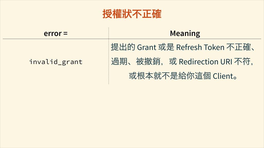 error = Meaning invalid_grant ิԛ֥ Grant ࠇ൞ Refr...