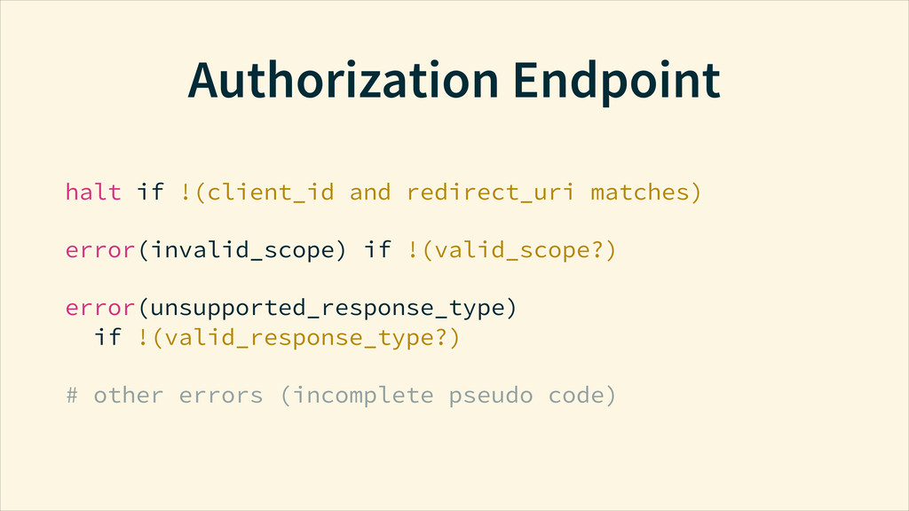 Authorization Endpoint halt if !(client_id and ...