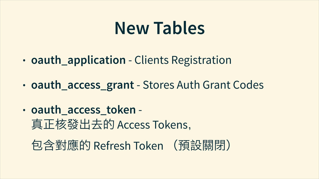 New Tables • oauth_application - Clients Regist...