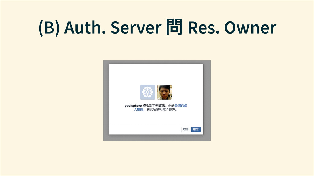 (B) Auth. Server ↜ Res. Owner