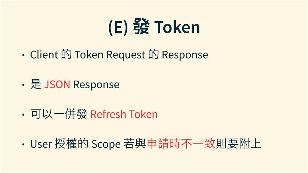 (E) ứ Token • Client ֥ Token Request ֥ Response...