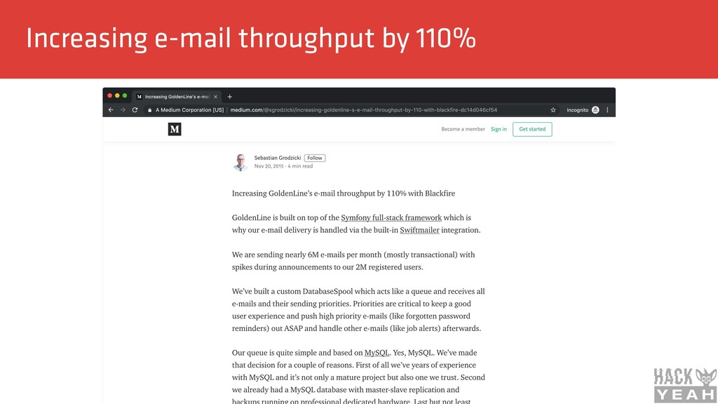 Increasing e-mail throughput by 110%