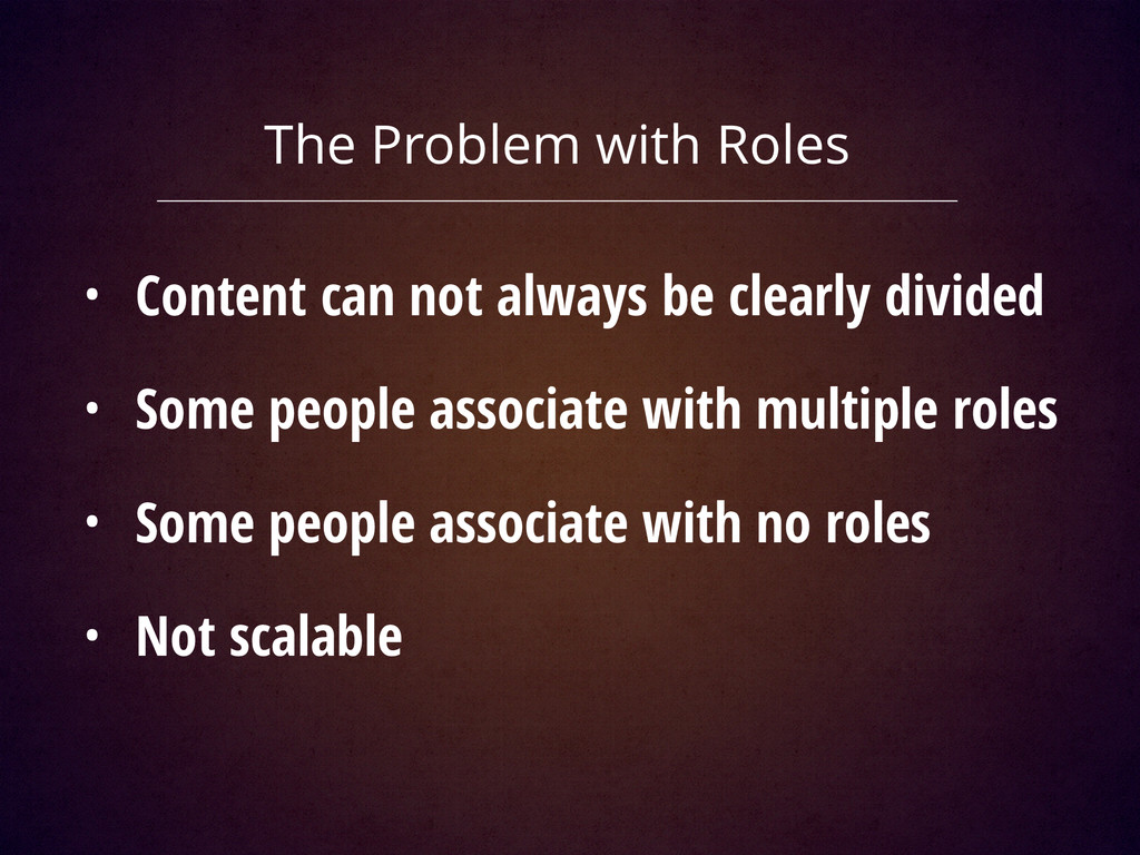 The Problem with Roles • Content can not always...