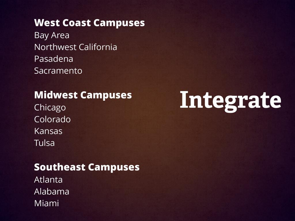 West Coast Campuses Bay Area  Northwest Califo...