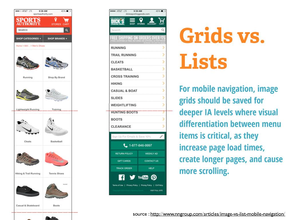 Grids vs. Lists For mobile navigation, image gr...