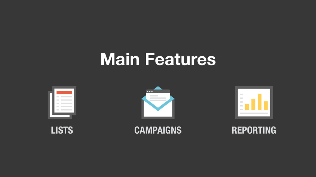 Main Features LISTS CAMPAIGNS REPORTING