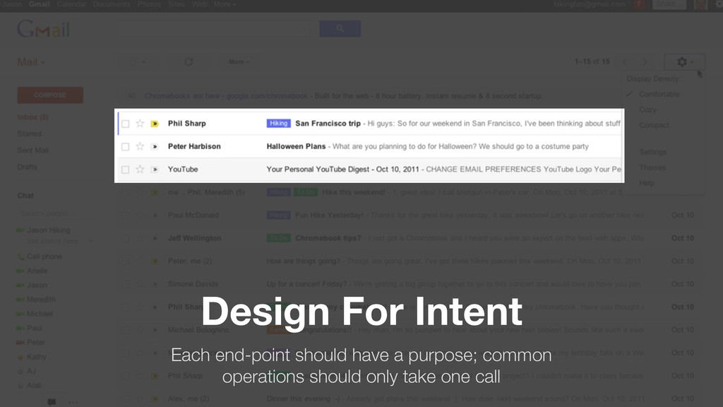 Design For Intent Each end-point should have a ...