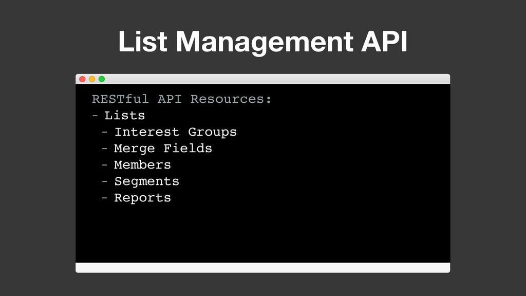 List Management API RESTful API Resources: - Li...
