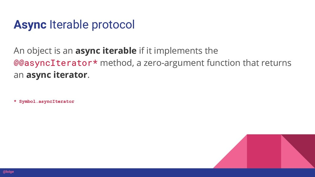 Async Iterable protocol An object is an async i...