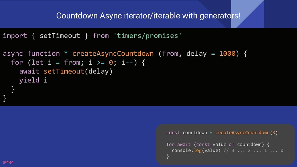 Countdown Async iterator/iterable with generato...