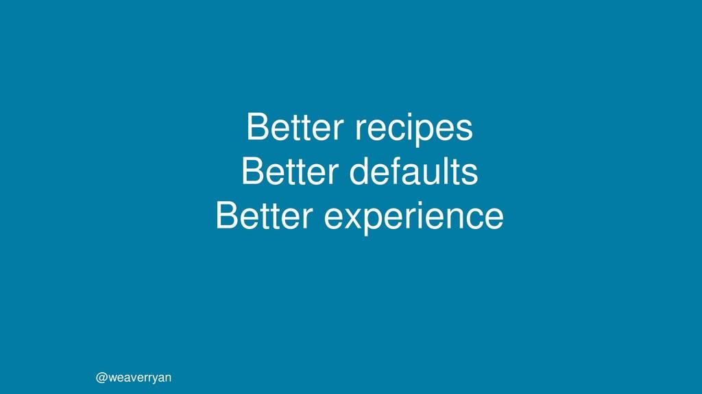 @weaverryan Better recipes Better defaults Bett...