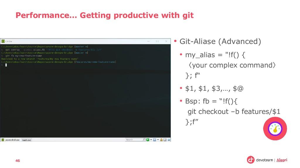 """• Git-Aliase (Advanced) • my_alias = """"!f() { 〈y..."""