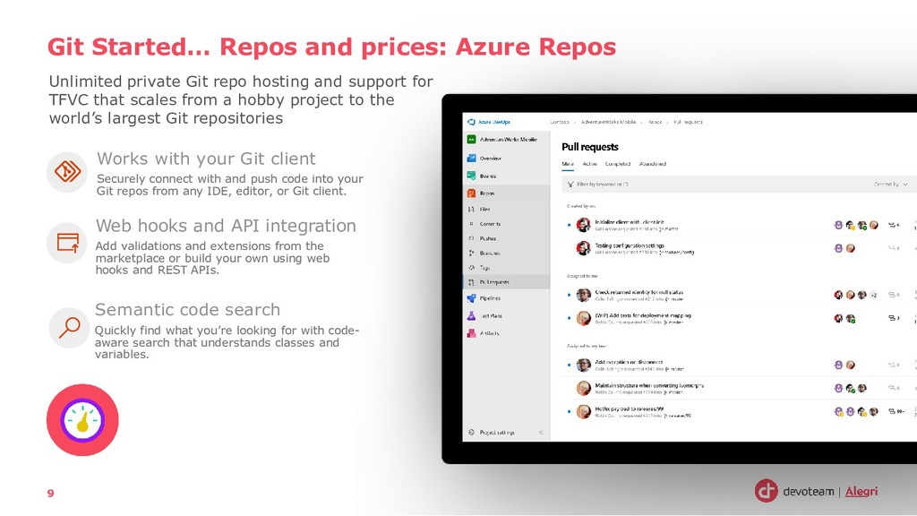 Git Started… Repos and prices: Azure Repos 9 Un...